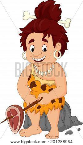 Vector illustration of Cartoon female caveman holding meat