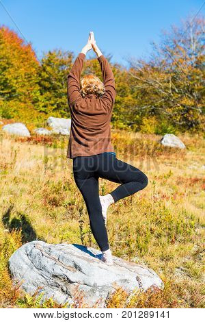 Young Woman In Tree Yoga Pose Standing On One Leg On Rock In West Virginia Meadow