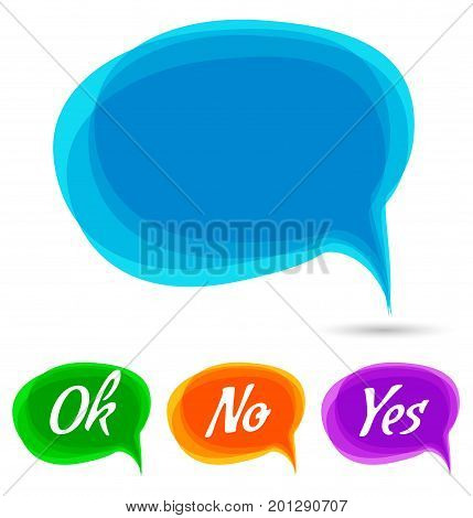 Vector illustration - Hand drawn speech bubble. Set with text - ok, no, yes. Speech bubble colorful set.talk bubble.