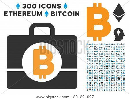 Bitcoin Accounting Case icon with 300 blockchain, cryptocurrency, ethereum, smart contract symbols. Vector illustration style is flat iconic symbols.