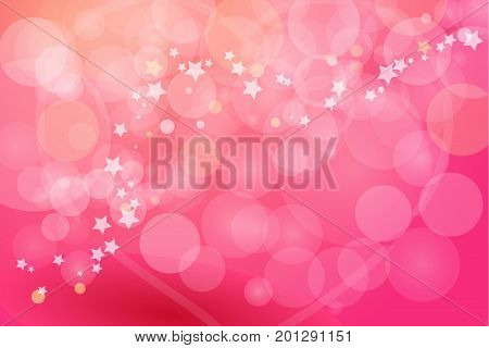 Pink bokeh abstract backgrounds. Red light romantic background with stars.