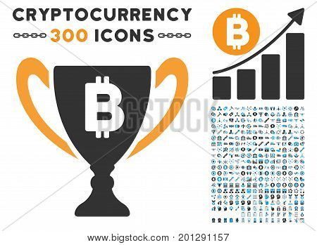 Bitcoin Award Cup pictograph with 300 blockchain, bitcoin, ethereum, smart contract pictograms. Vector illustration style is flat iconic symbols.