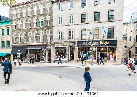Quebec City, Canada - May 29, 2017: Old Town Steep Street On Incline With People Walking Up By Resta