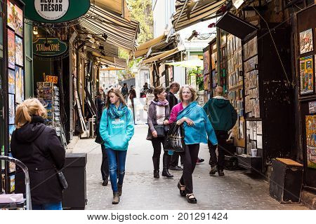 Quebec City, Canada - May 29, 2017: Old Town Street Rue Tresor With Artist Shops And People Walking