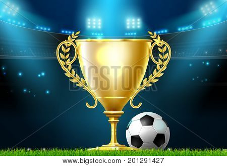 soccer football trophy prize award on stadium field vector illustration
