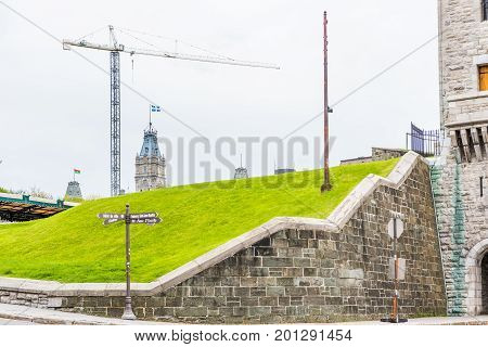 Quebec City, Canada - May 29, 2017: Cityscape And Park In Old Town By Hotel De Ville City Hall With