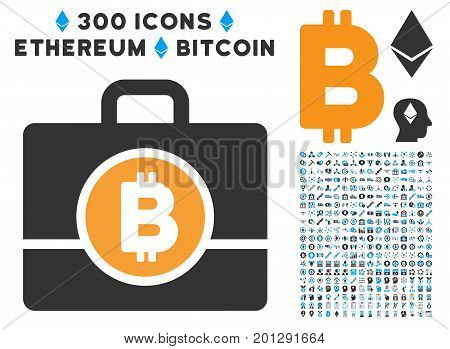Bitcoin Case icon with 300 blockchain, bitcoin, ethereum, smart contract pictures. Vector clip art style is flat iconic symbols.