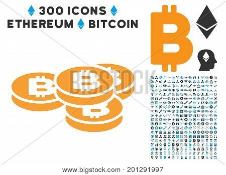 Bitcoin Coins icon with 300 blockchain, cryptocurrency, ethereum, smart contract images. Vector icon set style is flat iconic symbols.
