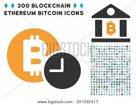 Bitcoin Credit Time icon with 300 blockchain, bitcoin, ethereum, smart contract symbols. Vector illustration style is flat iconic symbols.