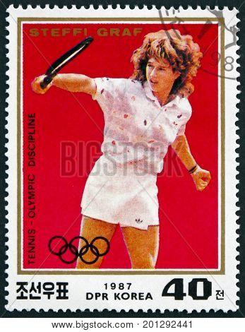 NORTH KOREA - CIRCA 1987: a stamp printed in North Korea shows Steffi Graf Tennis Player circa 1987
