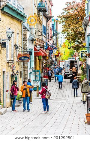 Quebec City, Canada - May 30, 2017: Lower Old Town Street Called Rue Du Petit Champlain With Entranc