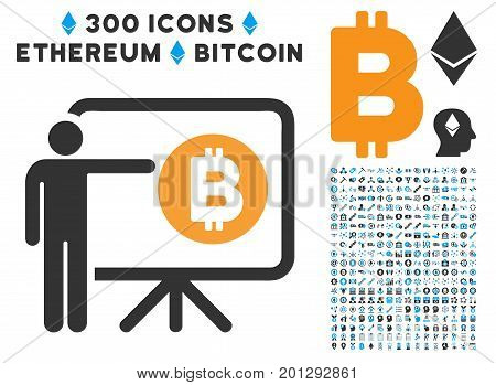 Bitcoin Lecture Board icon with 300 blockchain, bitcoin, ethereum, smart contract symbols. Vector pictograph collection style is flat iconic symbols.