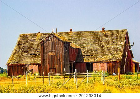 Old Wooden Barn With Roof In Disrepair