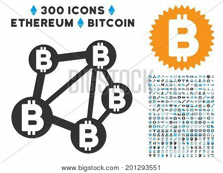 Bitcoin Network icon with 300 blockchain, bitcoin, ethereum, smart contract images. Vector pictograph collection style is flat iconic symbols.