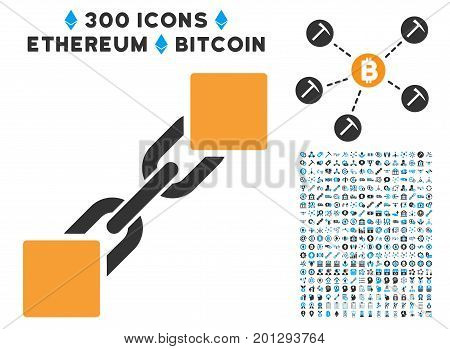 Blockchain icon with 300 blockchain, cryptocurrency, ethereum, smart contract graphic icons. Vector icon set style is flat iconic symbols.