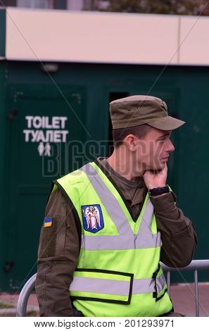 Celebration of the Great Victory near Illovaysk.Downtown of Kiev.Nazional Guard soldier..August 22, 2017 Kiev, Ukraine