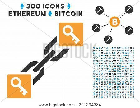 Key Blockchain pictograph with 300 blockchain, cryptocurrency, ethereum, smart contract symbols. Vector pictograph collection style is flat iconic symbols.