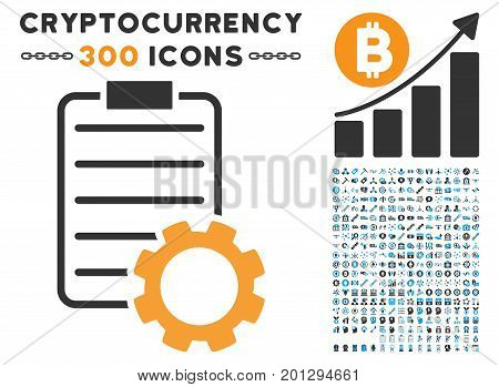 Smart Contract Gear icon with 300 blockchain, cryptocurrency, ethereum, smart contract graphic icons. Vector pictograph collection style is flat iconic symbols.