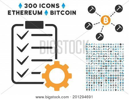 Smart Contract Gear pictograph with 300 blockchain, bitcoin, ethereum, smart contract images. Vector icon set style is flat iconic symbols.