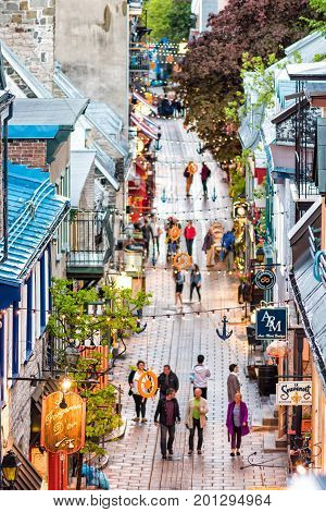 Quebec City, Canada - May 31, 2017: Lower Old Town Street Aerial View Called Rue Du Petit Champlain