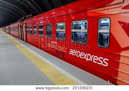 DOMODEDOVO RUSSIA JULY 28 2017 Electric train ED4M of Aeroexpress company on the platform of Domodedovo station