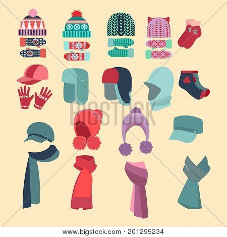 Set Vector collection of knitted woolen Hat and mittens. Winter hat scarves and mittens vector illustration set winter icons.