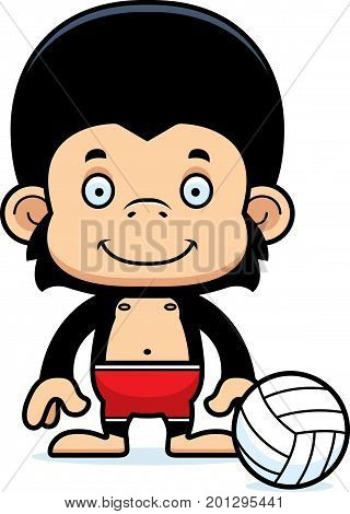 Cartoon Smiling Beach Volleyball Player Chimpanzee