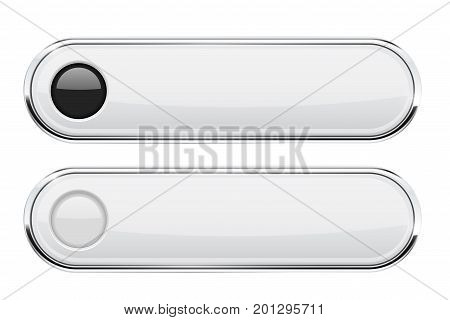 White oval buttons. Menu interface elements with chrome frame. Vector 3d illustration on white background