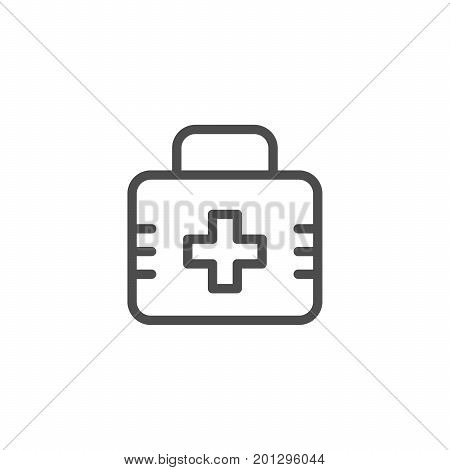 First aid kit line icon isolated on white. Vector illustration