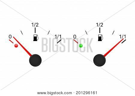 Fuel gauge scale. Empty and full tank. Vector illustration isolated on white background