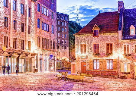 Quebec City, Canada - May 31, 2017: Lower Old Town Street Square Place Royale With Statue Bust Of Lo