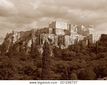 Ancient Greek Temple on the Acropolis of Athens, Greece in Sepia Tone