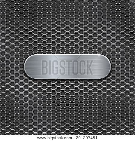 Metal brushed oval plate on perforated background. Vector 3d illustration