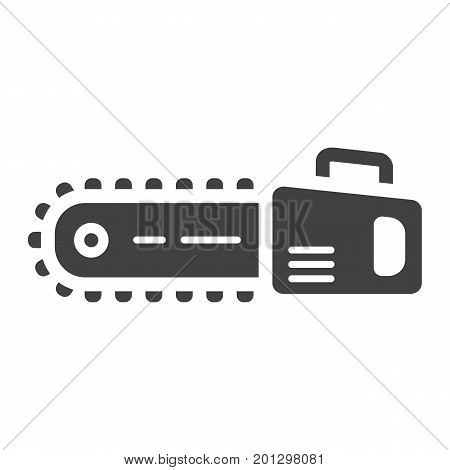 Chainsaw glyph icon, build and repair, electric saw sign vector graphics, a solid pattern on a white background, eps 10.