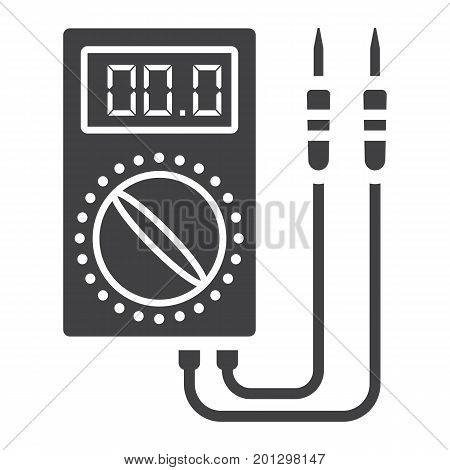 Digital multimeter glyph icon, build and repair, electric volmeter sign vector graphics, a solid pattern on a white background, eps 10.