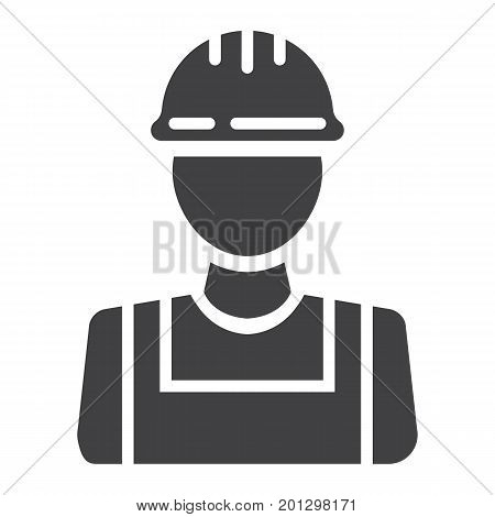 Builder glyph icon, build and repair, construction worker sign vector graphics, a solid pattern on a white background, eps 10.