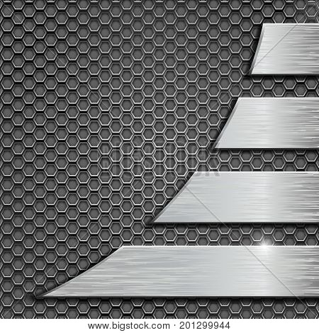 Metal perforated background with metal plates. Vector 3d illustration