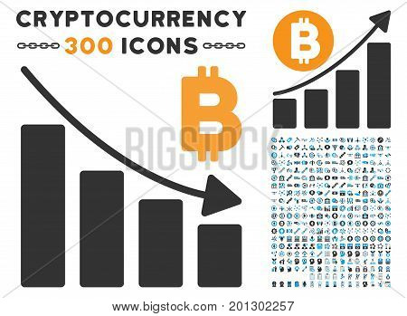 Bitcoin Recession Bar Chart pictograph with 300 blockchain, bitcoin, ethereum, smart contract graphic icons. Vector clip art style is flat iconic symbols.