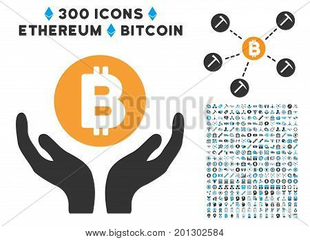 Bitcoin Support Hands icon with 300 blockchain, bitcoin, ethereum, smart contract pictograms. Vector icon set style is flat iconic symbols.