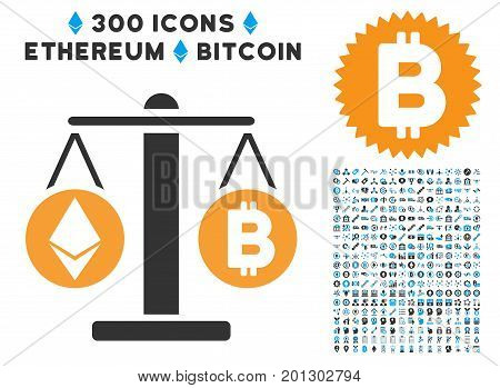 Cryptocurrency Weight icon with 300 blockchain, cryptocurrency, ethereum, smart contract images. Vector illustration style is flat iconic symbols.
