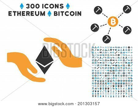 Ethereum Care Hands icon with 300 blockchain, bitcoin, ethereum, smart contract graphic icons. Vector clip art style is flat iconic symbols.