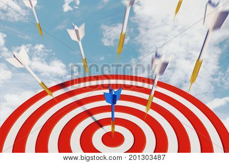 Close up of success dart board target with arrows on sky background. Goal concept. 3D Rendering
