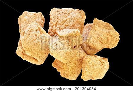 Soy meat isolated on a black background