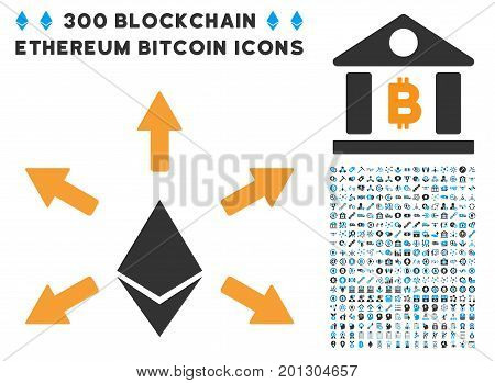 Ethereum Emission pictograph with 300 blockchain, bitcoin, ethereum, smart contract pictograms. Vector pictograph collection style is flat iconic symbols.