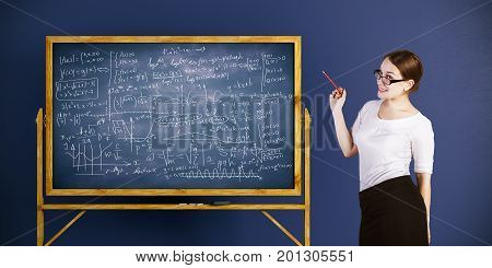 Smiling businesswoman standing next to chalkboard with mathematical formulas on blue wall background. Tutor concept. 3D Rendering