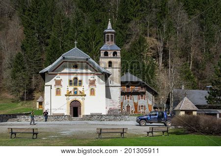 CONTAMINES-MONTJOIE FRANCE - APRIL 21 2016: The Chapel Notre-Dame-De-La-Gorge is situated on the territory of the village of Contamines-Montjoie (Haute Savoie) in the bottom of the Valley Montjoie in 1210 metres altitude France