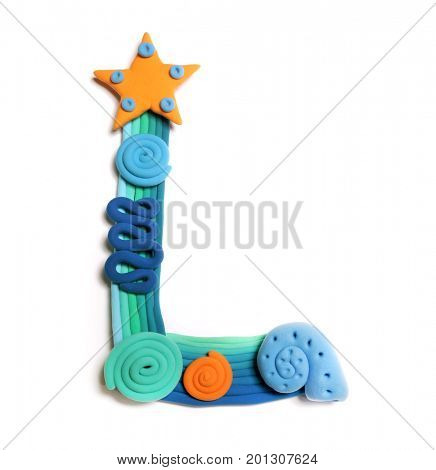 Plasticine letter L. Color plasticine alphabet, isolated. Blue and orange color of the alphabet