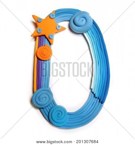 Plasticine letter O. Color plasticine alphabet, isolated. Blue and orange color of the alphabet