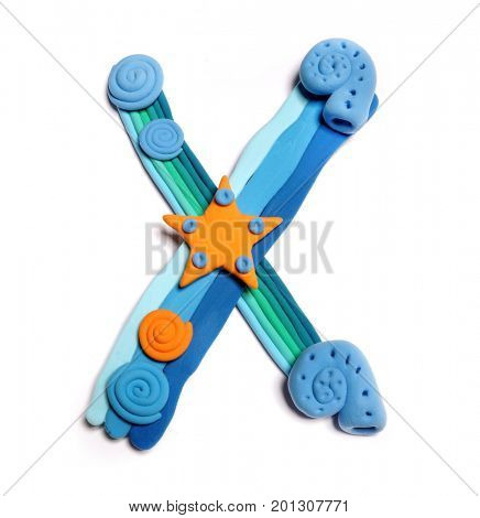 Plasticine letter X. Color plasticine alphabet, isolated. Blue and orange color of the alphabet