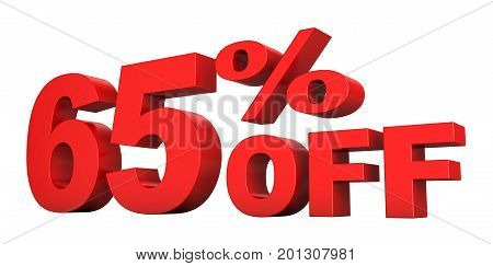 3d render of 65 percent off sale text isolated over white background
